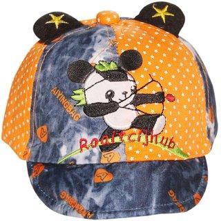Wonderkids Panda Patch Orange Kids cap with Ears (1-3 Years)