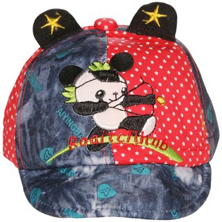 Wonderkids Panda Patch Red Kids cap with Ears (1-3 Years)