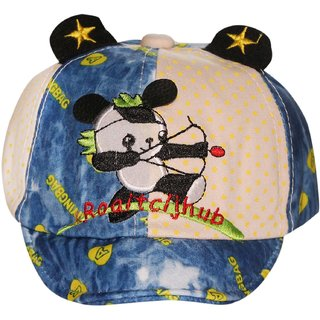 Wonderkids Panda Patch White Kids cap with Ears (1-3 Years)