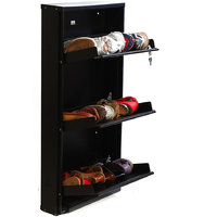 Foldable Space Saving Shoe Rack By PRAB ( Jumbo 3 Shelf Black)