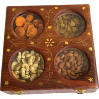 Hand Made Wooden Dry Fruit Box With Brass Carving(4 In 1) - The Woods Hut