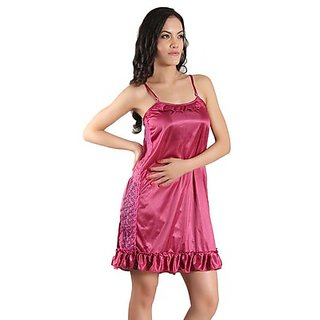 Klamottten Amazing Magenta-Red Satin Nighty