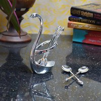 White Metal Swan Spoon Holder (Set Of 4 Spoons)