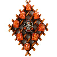 Wooden Wall Handing With 9 Variants Of Lord Ganesha