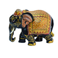Wooden Golden Painted Elephant Statue