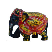 Wooden Painted Elephant Statue With Shawl
