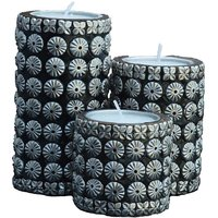 Black And Silver Cylindrical Candle Stand Set Of 3