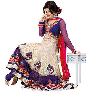1 Stop Fashion Cream Semi Stitched Georgette Anarkali Salwar Suit-100028