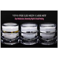 Vivo Per Lei Skin Care Set (Day Moisturizer, Renewing Night & Facial Peeling)