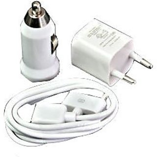 3 In 1 Usb Wall & Car Charger Adapter + Data Sync Cable