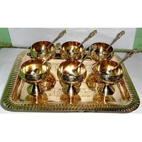Royal Brass Icecream Set Pack Of 6 Cups(Hand-Art Work)