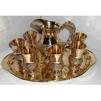 Brass Lemon Set Pack Of 6 Glasses(Embrossed - Work)