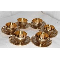 Brass Cup  Saucer Set With 6 Cup  6 Saucer (Embrossed)