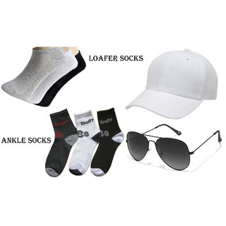 Combo of brand 3 Pair Men Socks Loafer Ankle Cotton Socks With Glasses And White Cap
