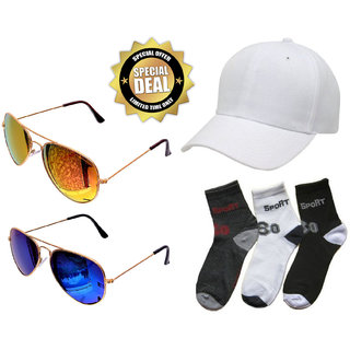 Combo of brand 3 Pair Men Ankle Cotton Socks With 2 Glasses And White Cap
