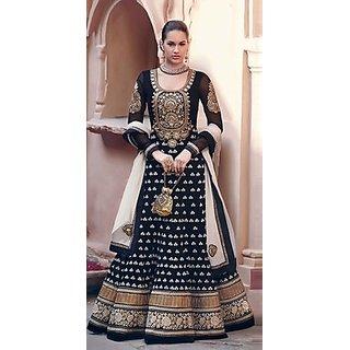 IndiWeaves Designer Black Color Georgette Embroidered Salwar Suit Dress Material
