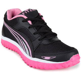 Fitze women pink and black casual running sports shoes