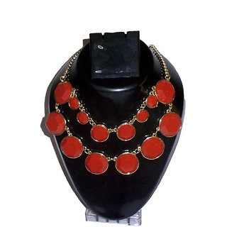 Reys Red Stone Bella Enamel, Alloy Necklace