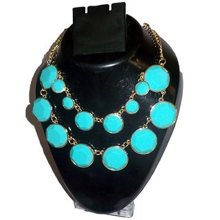 Reys Blue Stone Bella Enamel, Alloy Necklace