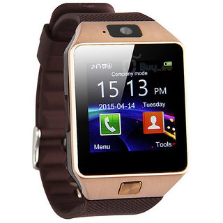 Gold DZ09 SMART Watch Phone For Android IOS Bluetooth Camera SIM Card n Memory Slot