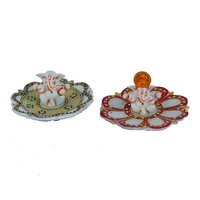 Set Of 2 Lord Ganesha Sitting On Marble Plate