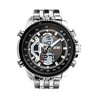 Skmei Imported Trendy Casual Analog & Digital Stainless Steel Quartz Mens Watch - NWA05S023C0