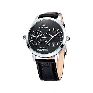 Skone Imported Trendy Casual Analog Chronograph Leather Quartz Men Watch - NWA04S031C0