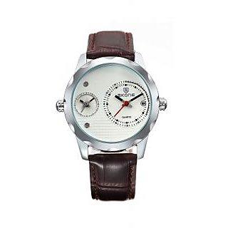 Skone Imported Trendy Casual Analog Chronograph Leather Quartz Men Watch - NWA04S053C0