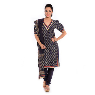 Blue Hand Block Printed chanderi suit.chanderi churidar, chunderi dup