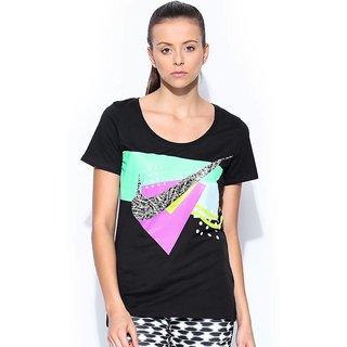 Nike Printed Womens Round Neck Black T-Shirt