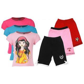 Goodway Pack of 6 Girls Pink, Fushia Turq 3 Pack T-Shirts  & 3 Pack Fashion Shorts Combo Pack JG-3PCK-STYLE 2-COL+JG3PCKSHRTCMB-5