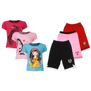 Goodway Pack of 6 Girls Pink, Fushia Turq 3 Pack T-Shirts  & 3 Pack Fashion Shorts Combo Pack JG-3PCK-STYLE 9-COL+JG3PCKSHRTCMB-5