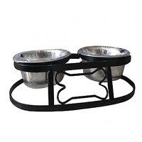 Bone Shaped Double Dining Dog Feeding Bowls Medium