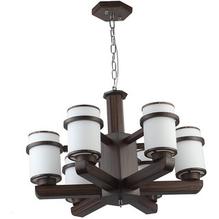 LeArc Designer Lighting Contemporary Glass Metal Wood Chandelier CH319