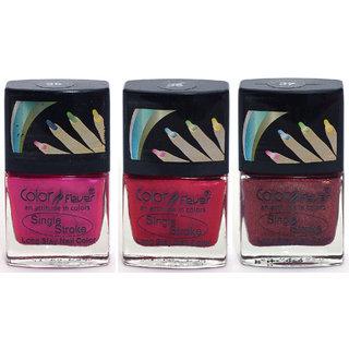 Color Fever Ultra Sparkle Nail Color- Blush Rose / Red Pack of 3 (0.90 Oz)