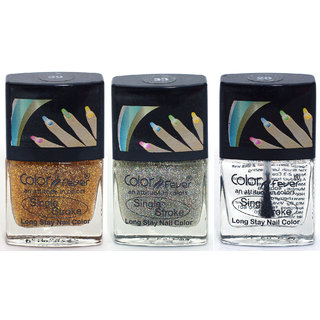Color Fever Ultra Sparkle Nail Color - Gold / Silver / Top Coat Pack of 3 (0.90 Oz)