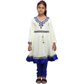 Crazeis Beautiful White and Blue Kurti and Legging Set for Girls