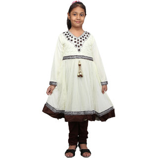 Crazeis Beautiful White and Brown Kurti and Legging Set for Girls