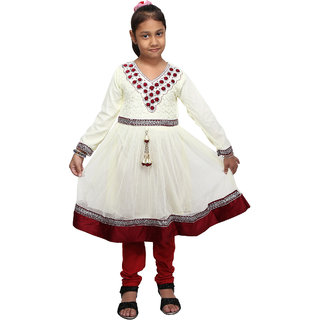 Crazeis Beautiful White and Red Kurti and Legging Set for Girls