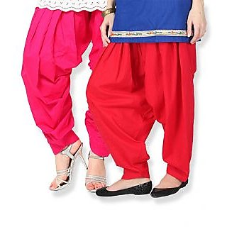 Stylobby Pink Red Cotton Plain Patiala Salwar (Pack Of 2)