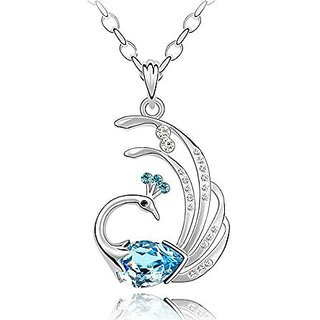 GirlZ! Awesome Blue Crystal Peacock Silver Finish Pendant - With Chain.