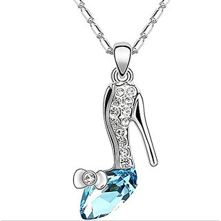 GirlZ!Crystal Shoe Of Cinderella Pendant With Chain