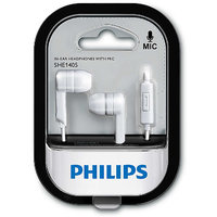 Philips SHE1405WT/94 Wired Headphones With Mic (White In the Ear)