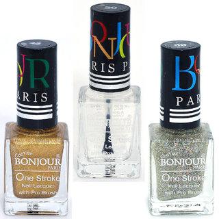 Coat Me Bonjour Paris True Color Nail Polish - Gold / Top Coat / Silver Pack of 3 (0.90 Oz)