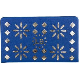 Louise Belgium Blue Plain Zipper Clutch