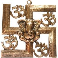 Copper Metal - Wall Hanging- Ganpati On Swastik Sign- Medium Size
