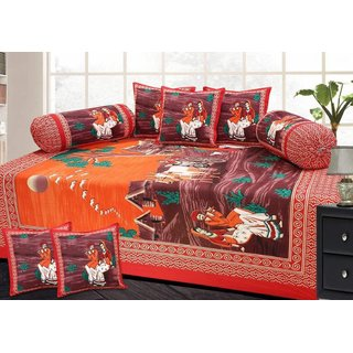 Attractivehomes Beautiful Jaipuri Cotton Diwan Set Includes 5 cushion Covers 2 Bolster Covers
