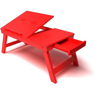 IBS Home Sparkle Ssolid Wood Portable Laptop Table (Finish Color - Red)