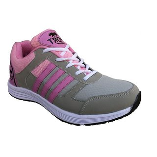 Port Womens Slice Gray Pink Mesh Sports Shoes