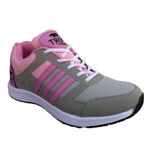 Port Womens Monesto Gray Pink Mesh Sports Shoes